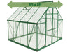 Image of Palram 8ft x 8ft Balance Hobby Greenhouse - HG6108G - white background - with green arrow on top