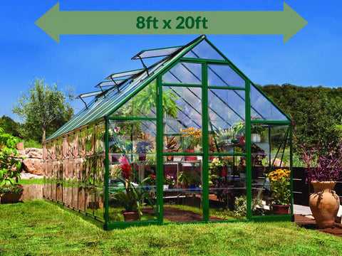 Palram 8ft x 20ft Balance Hobby Greenhouse - HG6120G - full view - with arrow on top - in a garden settings