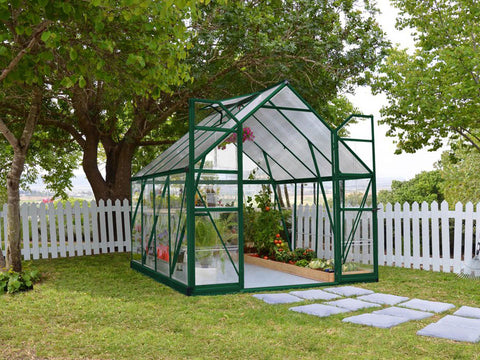 Palram 8ft x 8ft Balance Hobby Greenhouse - HG6108G - full view - in a garden