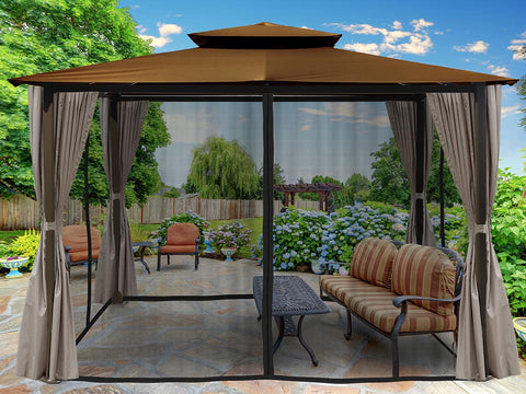 Barcelona Gazebo with Cocoa Top and Open Privacy Curtains and Closed Mosquito Netting