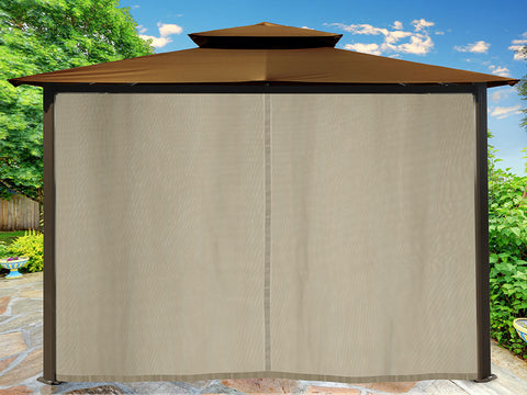 Barcelona Gazebo with Cocoa Top and Closed Privacy Curtains and Mosquito Netting