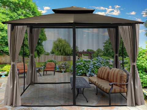 Barcelona Gazebo with Grey Color Top and Open Privacy Curtains and Closed Mosquito Netting