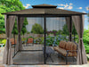Image of Barcelona Gazebo with Grey Color Top and Open Privacy Curtains and Closed Mosquito Netting