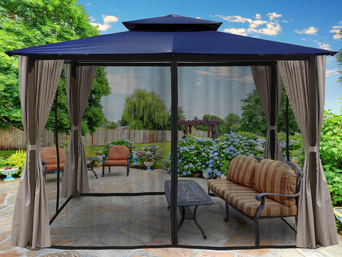 Barcelona Gazebo with Navy Top and Open Privacy Curtains and Closed Mosquito Netting