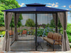 Image of Barcelona Gazebo with Navy Top and Open Privacy Curtains and Closed Mosquito Netting