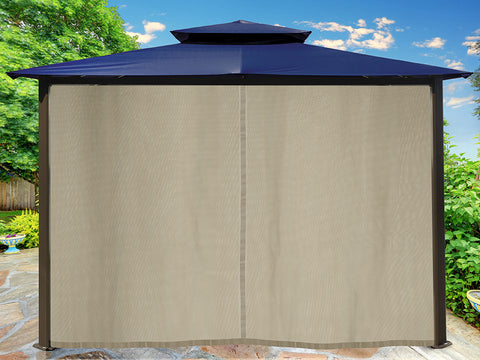 Barcelona Gazebo with Navy Top and Closed Privacy Curtains and Mosquito Netting
