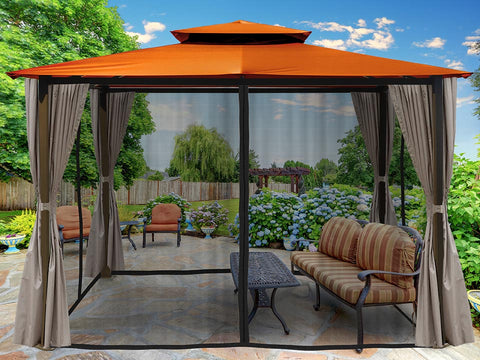 Barcelona Gazebo with Rust Color Top and Open Privacy Curtains and Closed Mosquito Netting