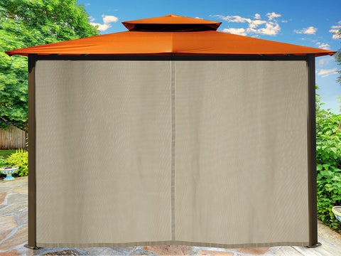 Barcelona Gazebo with Rust Color Top and Closed Privacy Curtains and Closed Mosquito Netting
