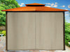 Image of Barcelona Gazebo with Rust Color Top and Closed Privacy Curtains and Closed Mosquito Netting