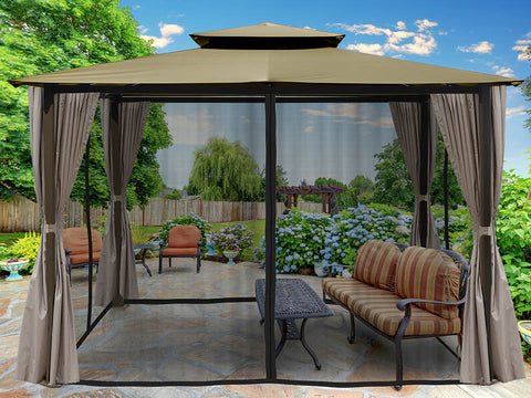 Barcelona Gazebo with Sand Color Top and Open Privacy Curtains and Closed Mosquito Netting