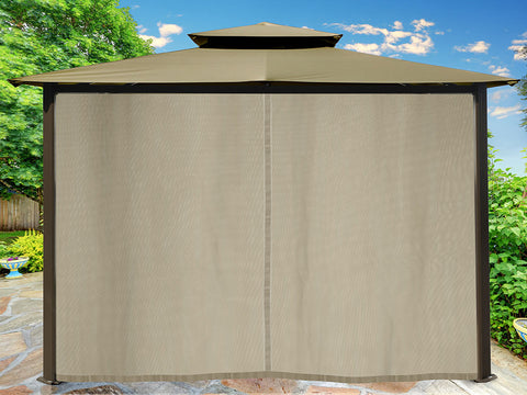 Barcelona Gazebo with Sand Color Top and Closed Privacy Curtains and Mosquito Netting