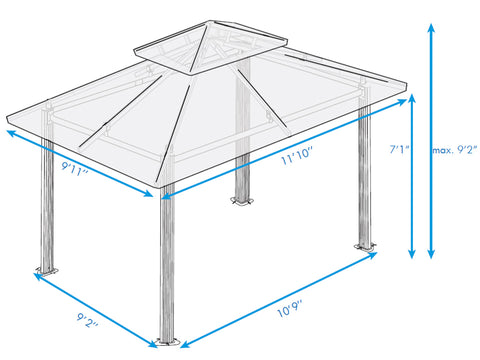 Paragon Barcelona Soft Top Gazebo 10ft x 12ft Dimensions