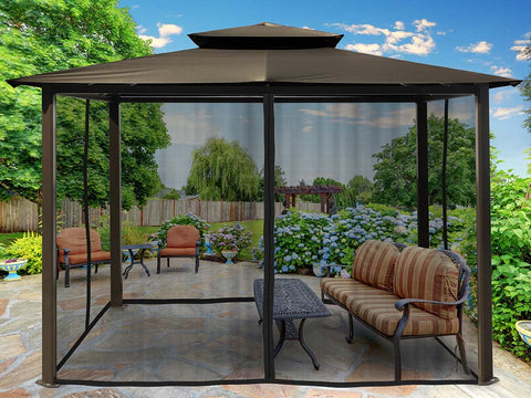 Paragon Barcelona Soft Top Gazebo 10ft x 12ft with Grey Roof and Closed  Mosquito Netting