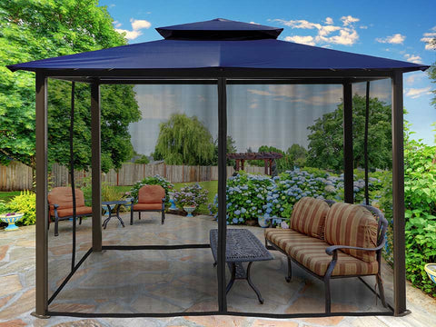 Barcelona Gazebo wth Navy Roof and Closed Mosquito Netting