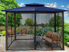 Image of Barcelona Gazebo wth Navy Roof and Closed Mosquito Netting