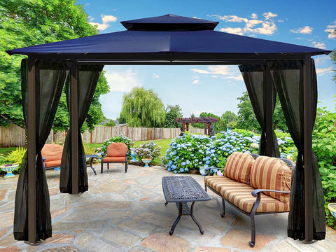 Barcelona Gazebo wth Navy Roof and  Mosquito Open Netting