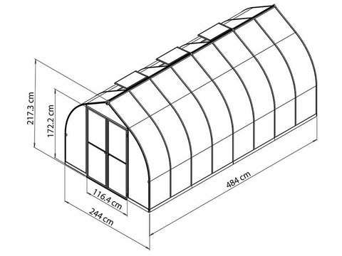 Palram Bella Silver 8ft x 16ft Hobby Greenhouse HG5416 - full view of framework with dimensions