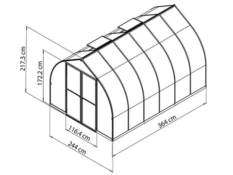 Image of Palram Bella Silver 8ft x 12ft Hobby Greenhouse HG5412 - framework with dimensions