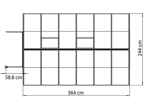 Image of Palram Bella Silver 8ft x 12ft Hobby Greenhouse HG5412 - top view framework with dimensions