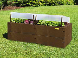 Dark brown Timber Raised Bed - With Covers and plants inside