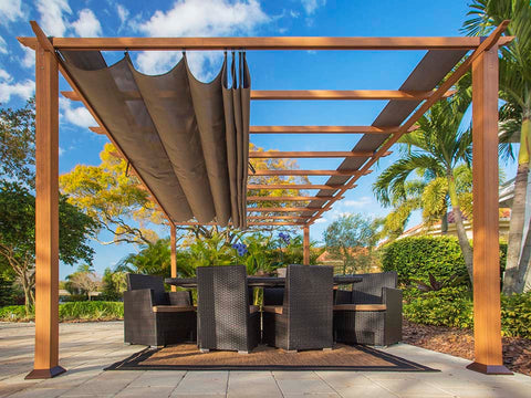 Florence Aluminum Pergola With the look of Canadian Wood  with Cocoa Canopy