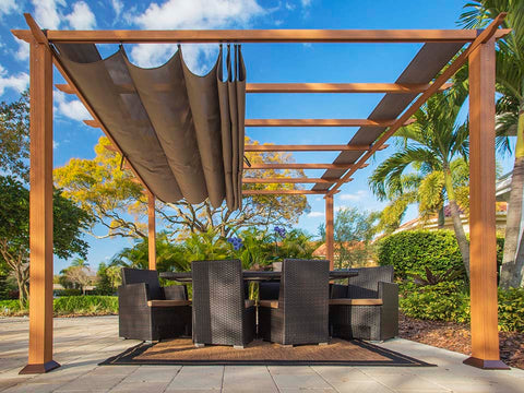 Florence Aluminum Pergola with the look of Canadian Cedar Wood Grain Finish  and Cocoa Color Convertible Canopy