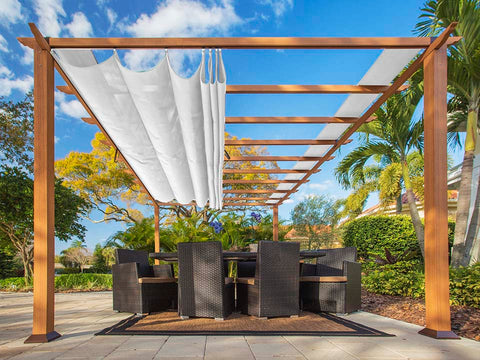 Florence Aluminum Pergola With the look of Canadian  Wood  with White Canopy