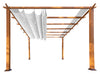 Image of Florence Aluminum Pergola with the look of Canadian Cedar Wood Grain Finish  and White Color Convertible Canopy