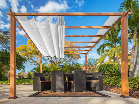 Florence Aluminum Pergola with the look of Canadian Cedar Wood Grain Finish  and White Color Convertible Canopy