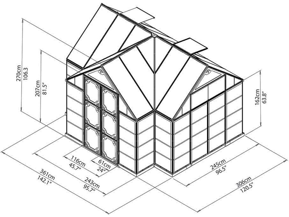 Palram Chalet 12ft x 10ft Hobby Greenhouse HG5400 - framework with dimensions - full view