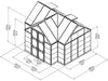 Image of Palram Chalet 12ft x 10ft Hobby Greenhouse HG5400 - framework with dimensions - full view