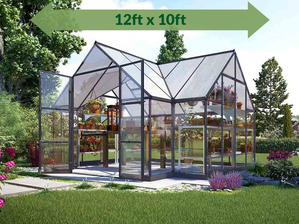 Palram Chalet 12ft x 10ft Hobby Greenhouse HG5400 - full view - with green arrow on top - in a garden