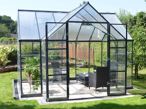 Image of Palram Chalet 12ft x 10ft Hobby Greenhouse HG5400 - full view - open doors