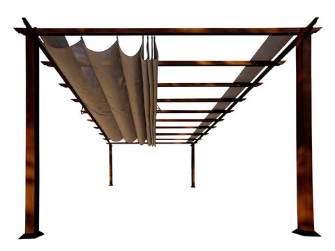 Florence Aluminum Pergola With the look of Chilean  Wood  with Cocoa Canopy