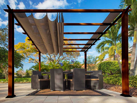 Florence Aluminum Pergola with the look of Chilean  Wood Grain Finish  and a Cocoa Color Convertible Canopy