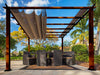 Image of Florence Aluminum Pergola with the look of Chilean  Wood Grain Finish  and a Cocoa Color Convertible Canopy