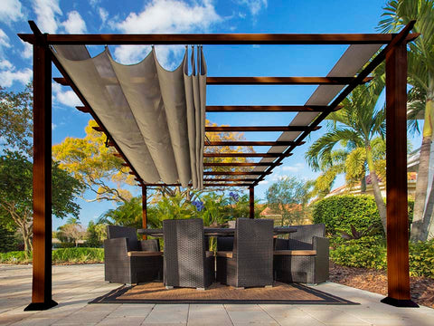 Florence Aluminum Pergola With the look of Chilean  Wood  with a Sand Color Canopy