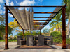 Image of Florence Aluminum Pergola With the look of Chilean  Wood  with a Sand Color Canopy