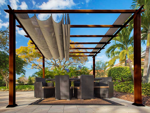 Florence Aluminum Pergola with the look of Chilean  Wood Grain Finish  and a Sand Color Convertible Canopy