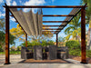 Image of Florence Aluminum Pergola with the look of Chilean  Wood Grain Finish  and a Sand Color Convertible Canopy