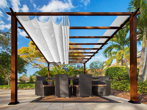 Florence Aluminum Pergola With the look of Chilean  Wood  with a White Color Canopy