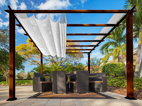 Florence Aluminum Pergola with the look of Chilean  Wood Grain Finish and a White Color Convertible Canopy