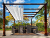 Image of Florence Aluminum Pergola with the look of Chilean  Wood Grain Finish and a White Color Convertible Canopy