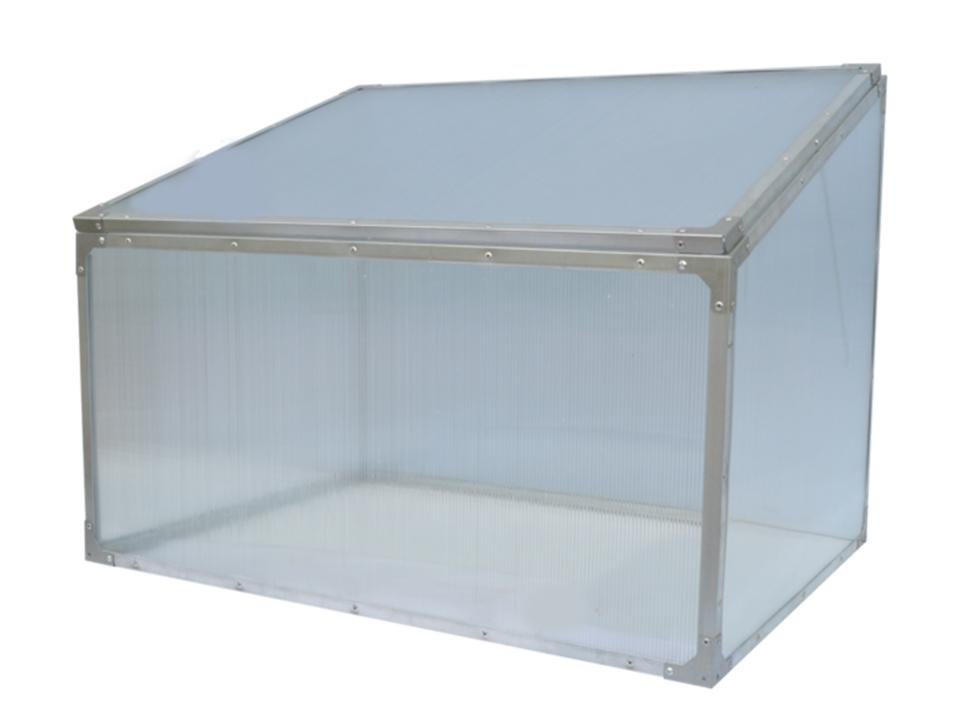 Delta Park Single Cold Frame. Front view. Closed Roof panel.