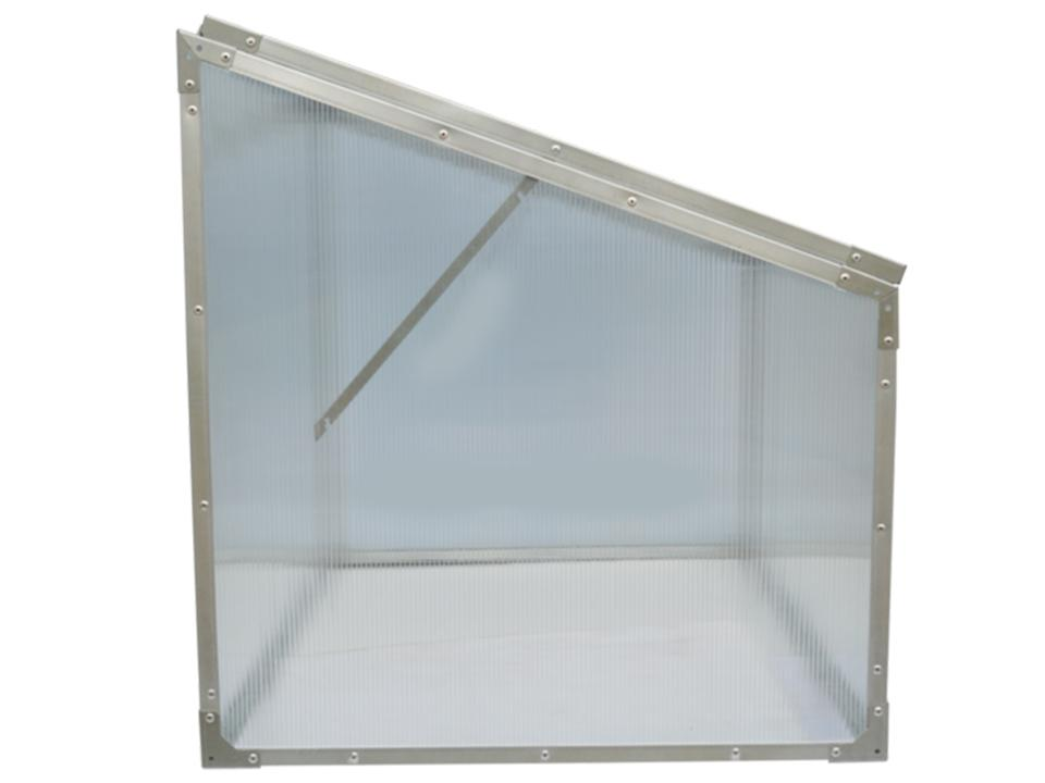 Delta Park Single Cold Frame. Side View. Closed Roof Panel