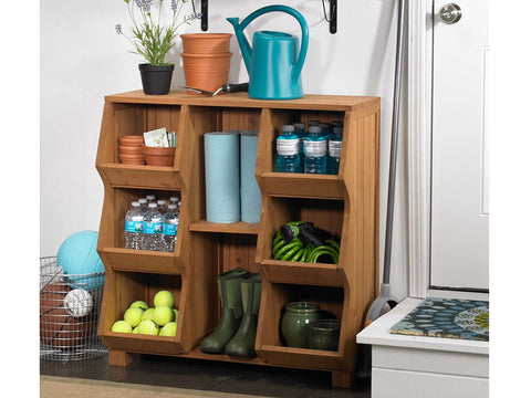 Storage Cubby Shelf with garden tools
