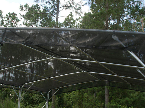 Closer look at Riverstone Black Woven Shade Cloth installed on a Pergola Shade