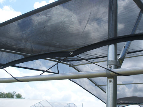 Riverstone Black Knitted Shade Cloth as a Pergola Shade - closer view