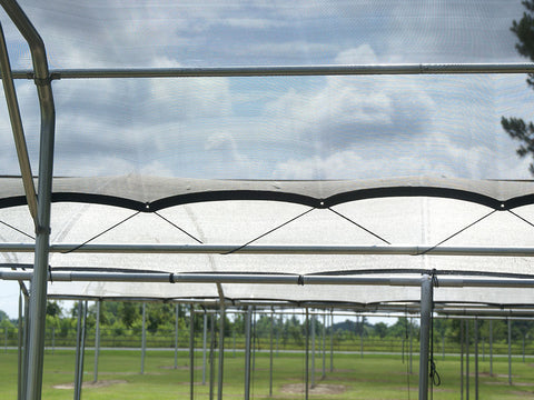 Riverstone Black Knitted Shade Cloth as a Pergola Shade - closer side view