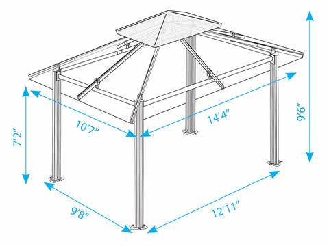 Paragon Santa Cruz Soft Top Gazebo Dimensions